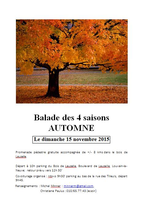 Balade des 4 saisons – 15 novembre